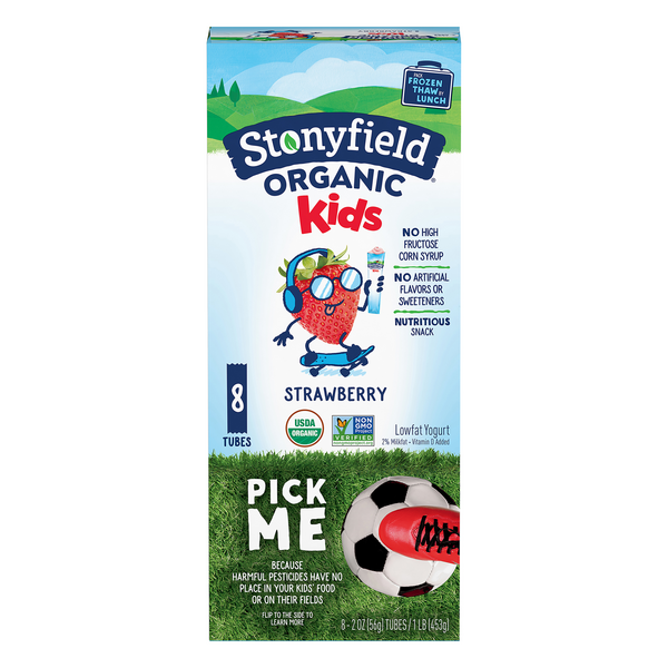 Stonyfield YoKids Squeezers Yogurt Strawberry Low Fat Organic - 8 ct