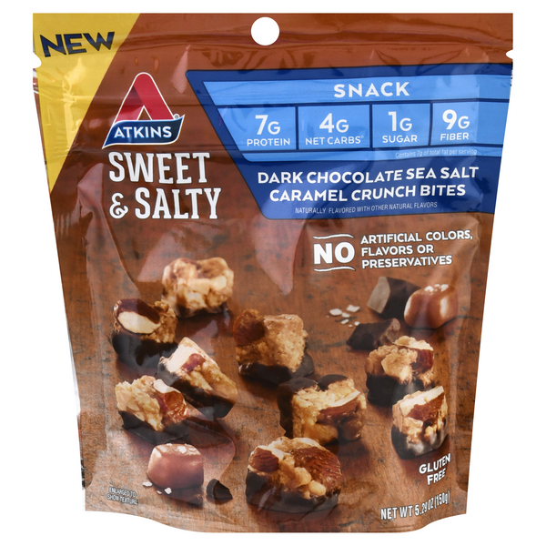 Atkins Crunch Bites Dark Chocolate Sea Salt Caramel Gluten Free