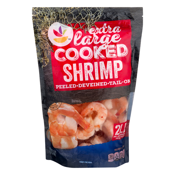 Giant Cooked Tail On Shrimp Extra Large 26-30 ct per lb Frozen