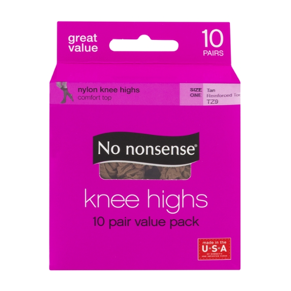 No Nonsense Pantyhose Knee Highs Tan Size 1