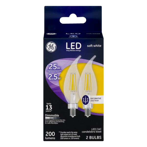 GE LED Decorative Soft White Light Bulbs Dimmable 25w Replacement