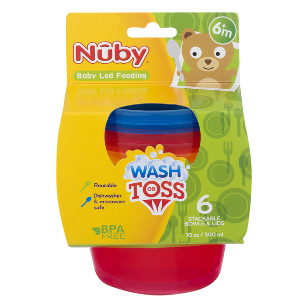 Nuby Wash or Toss Stackable Bowls & Lids (Ages 6m+)