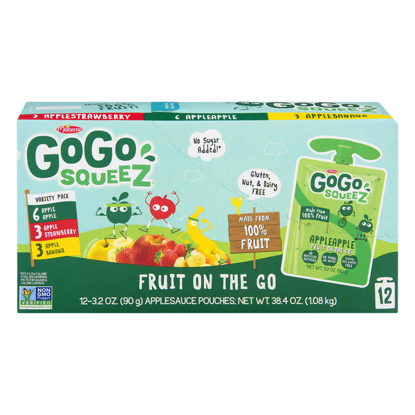 GoGo squeeZ Fruit on the Go Apple Sauce Pouches Variety Pack - 12 ct
