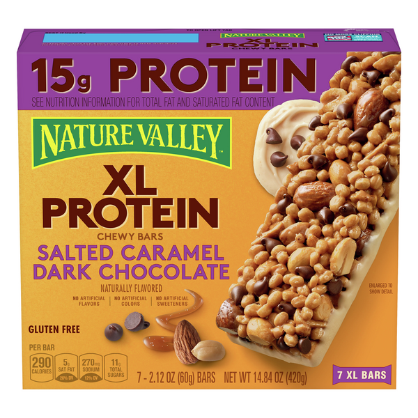 Nature Valley XL Protein Chewy Bars Salted Caramel Dark Chocolate - 7 ct