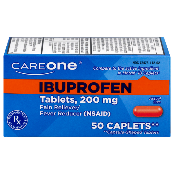 CareOne Ibuprofen Pain Relief 200 mg Caplets Gluten Free