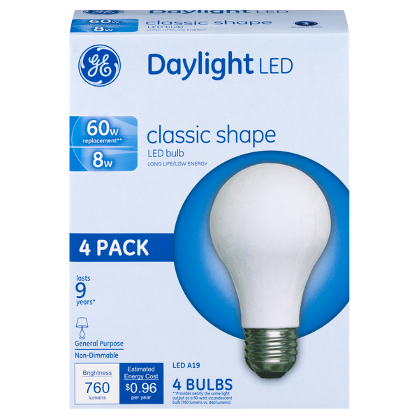 GE LED Daylight Light Bulbs Classic Shape Non-Dimmable 60w Replacement