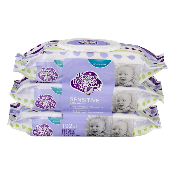 Always My Baby Wipes Unscented 64 ea - 3 pk