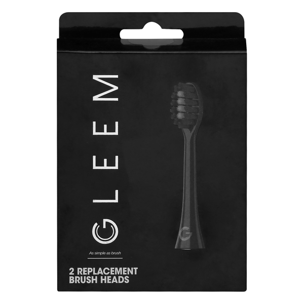 GLEEM Power Toothbrush Replacement Heads Black Soft