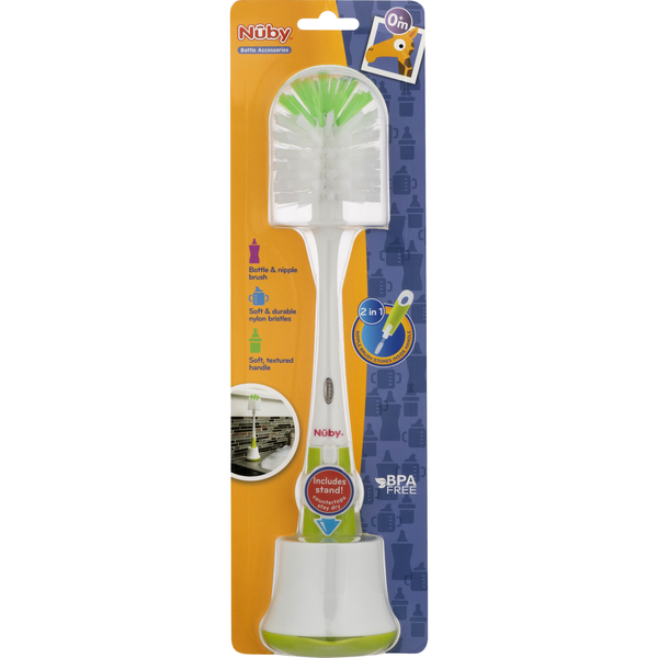 Nuby Bottle & Nipple Brush with Stand Soft & Durable 0+ M