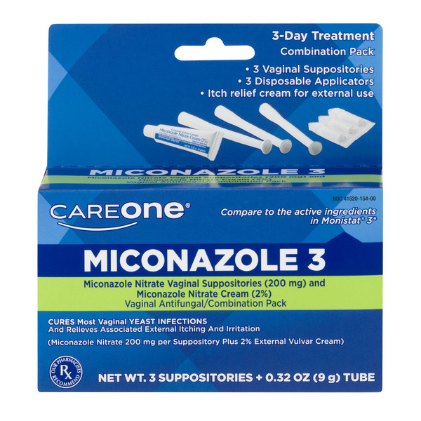 CareOne Miconazole 3 Vaginal Suppositories