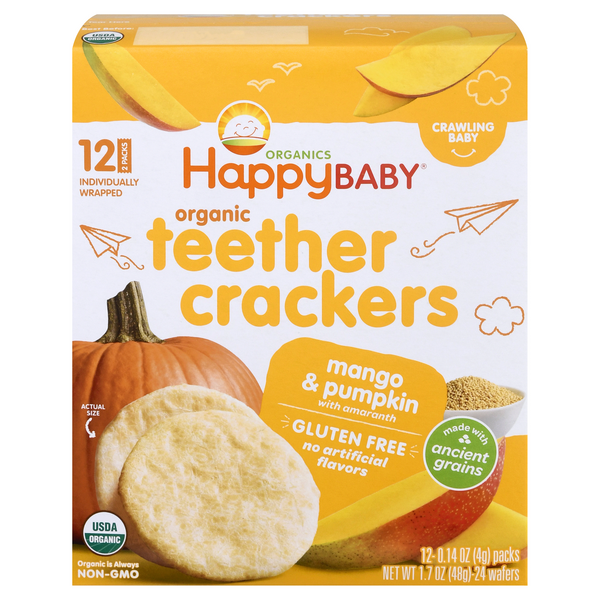 HappyBaby Organic Teether Crackers Mango & Pumpkin with Amaranth - 12 ct