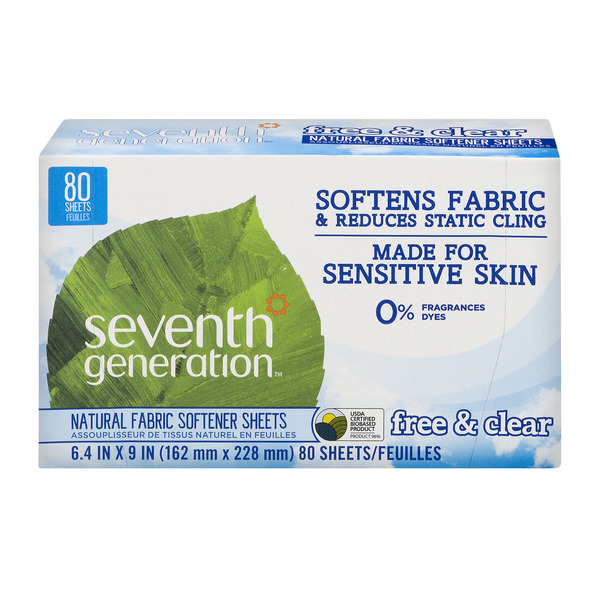 Seventh Generation Fabric Softener Sheets Free & Clear Natural