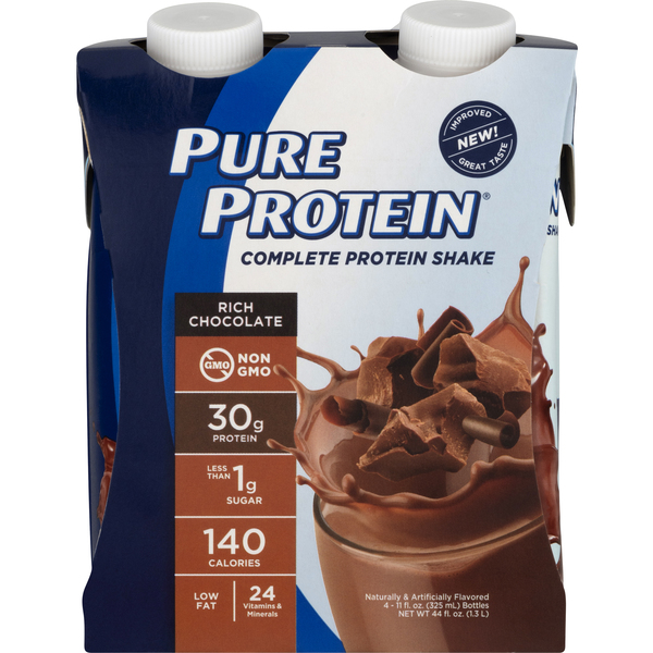 Pure Protein Complete Protein Shake Rich Chocolate - 4 ct