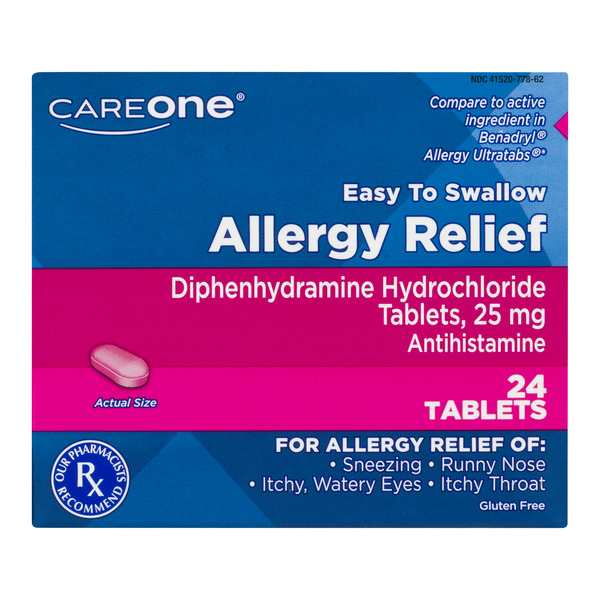 CareOne Allergy Relief Tablets Gluten Free 25mg