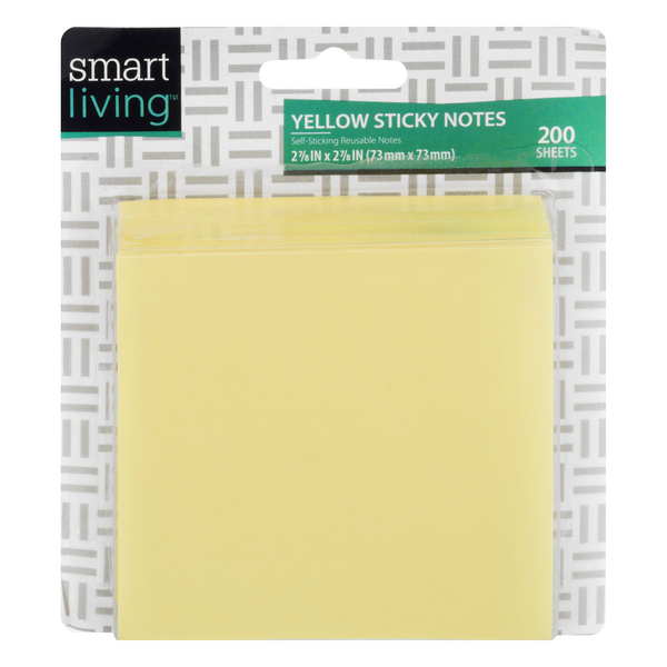 Smart Living Sticky Notes Yellow 2 7/8 X 2 7/8 Inch - 50 Sheets/Pad