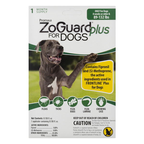 ZoGuard Plus for Dogs Flee & Tick Medicine 89-132 lbs