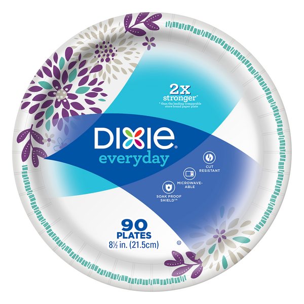 Dixie Everyday Paper Plates Soak Proof Shield Decorated 8 1/2 Inch