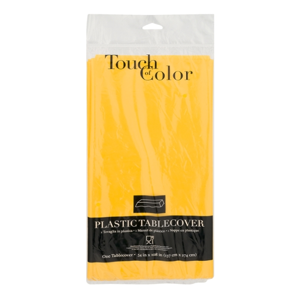 Touch of Color Tablecover Plastic School Bus Yellow 54 X 108 Inch