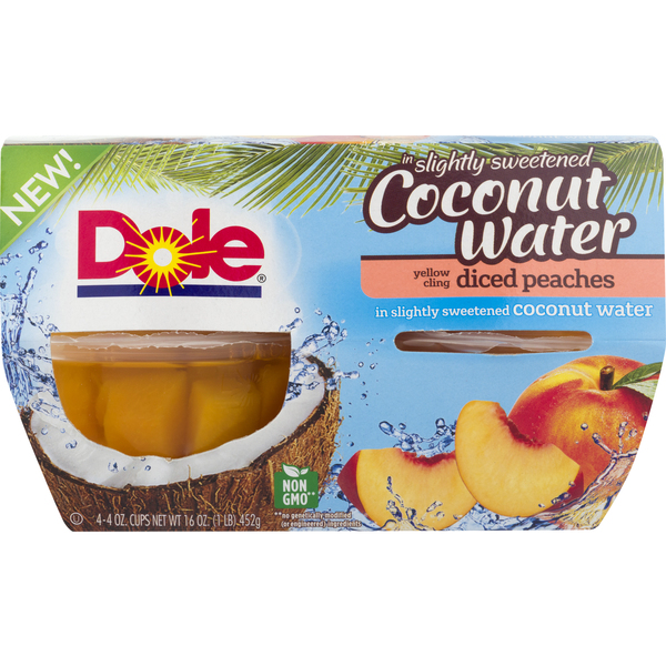 Dole Diced Yellow Cling Peaches in Lightly Sweetened Coconut Water - 4 ct