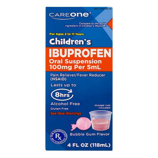 CareOne Children's Ibuprofen Oral Suspension Bubble Gum Flavor Gluten Free