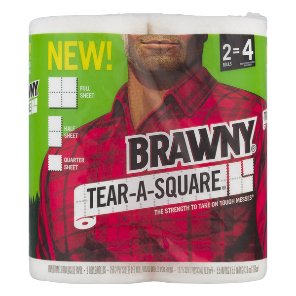 Brawny Tear-A-Square Paper Towels Rolls White