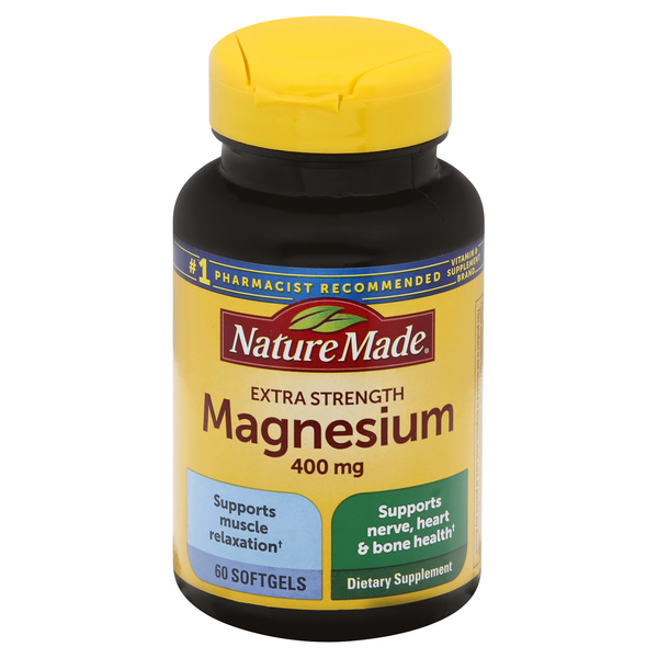 Nature Made Extra Strength Magnesium 400 mg Dietary Supplement Softgels