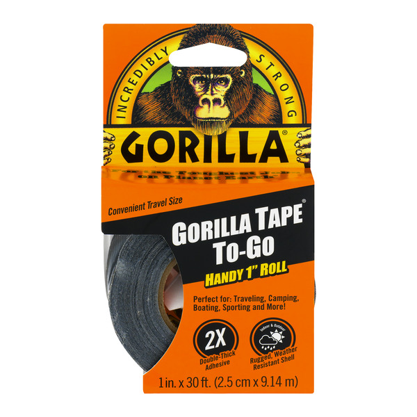 Gorilla To-Go Tape Black Travel Size 1 x 360 Inch