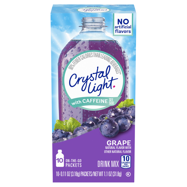 Crystal Light On-the-Go Powered Drink Mix Grape with Caffeine - 10 ct