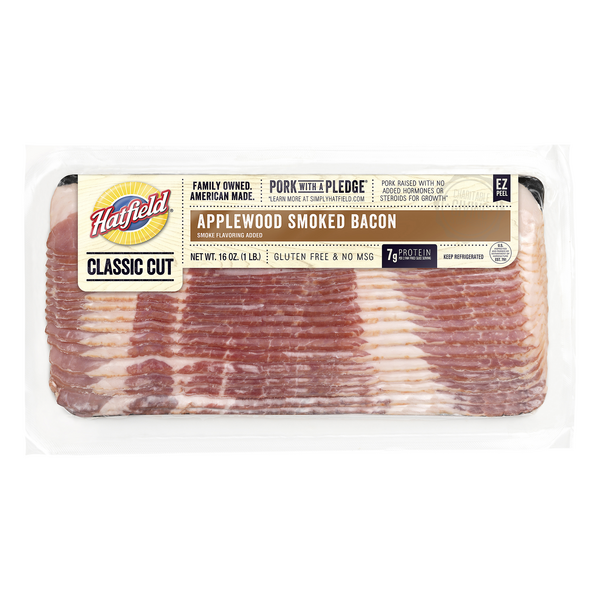 Hatfield Hardwood Smoked Bacon Applewood No MSG Gluten Free
