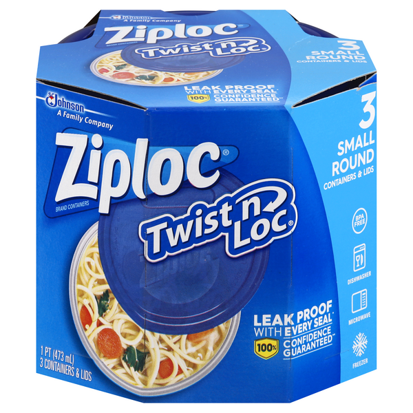 Ziploc Twist 'n Loc Containers & Lids Small Round 16 oz ea
