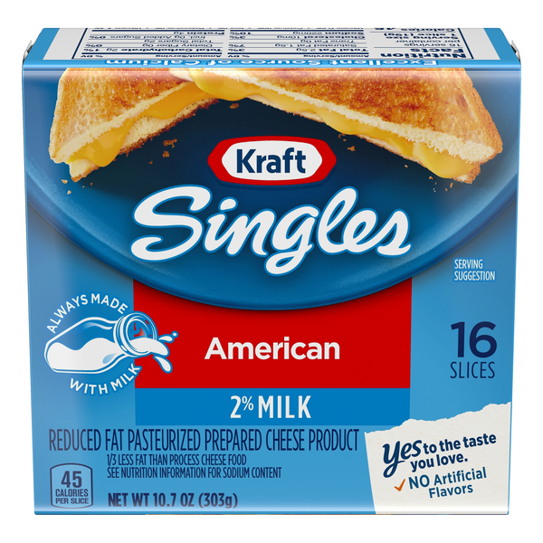 Kraft American Cheese 2% Milk Reduced Fat Singles - 16 ct