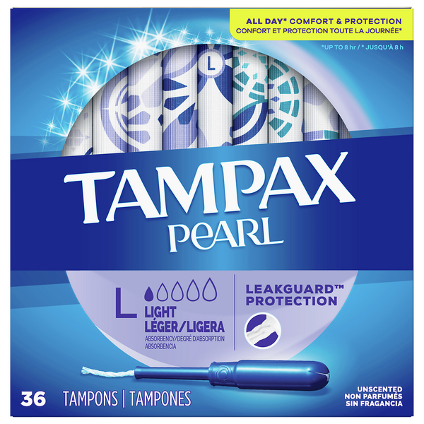 Tampax Pearl Tampons Light Absorbency Plastic Applicator Unscented