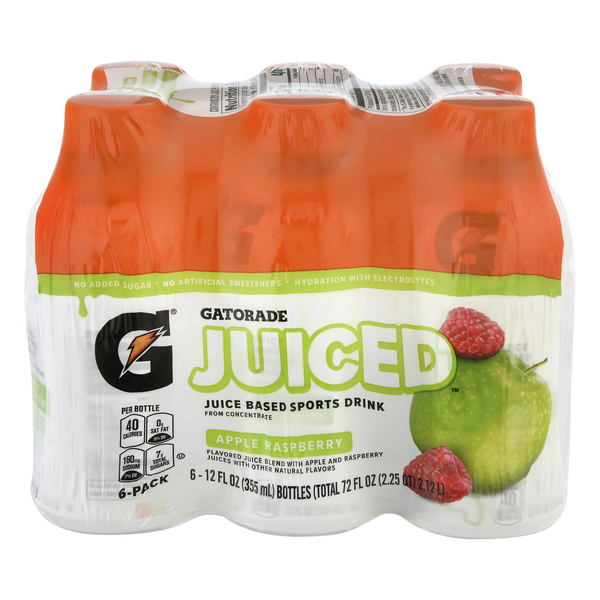 Gatorade Juiced Juice Based Sports Drink Apple Raspberry - 6 pk