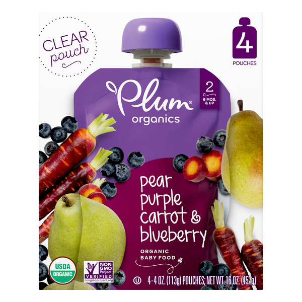 Plum Organics Stage 2 Baby Food Blueberry Pear & Purple Carrot - 4 ct
