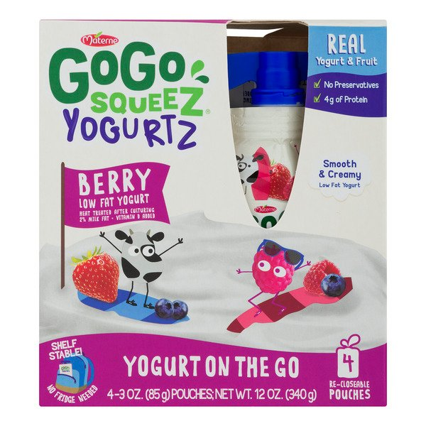 GoGo squeeZ Yogurtz on the Go Pouches Berry Low Fat - 4 ct