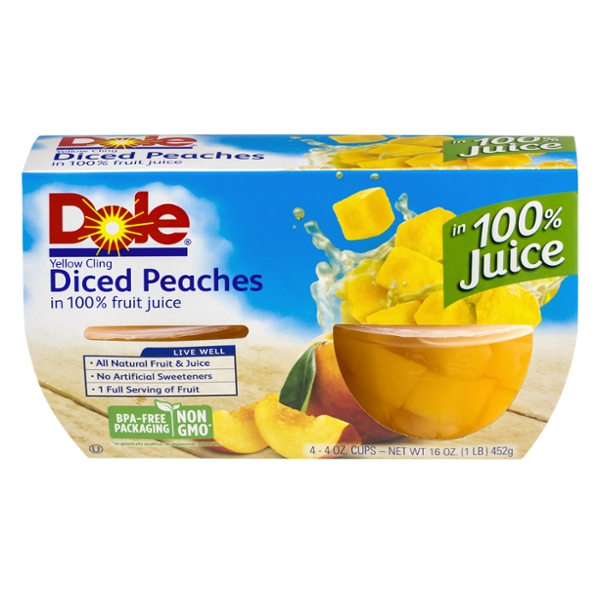 Dole Fruit Bowls Peaches Yellow Cling Diced in 100% Fruit Juice - 4 ct