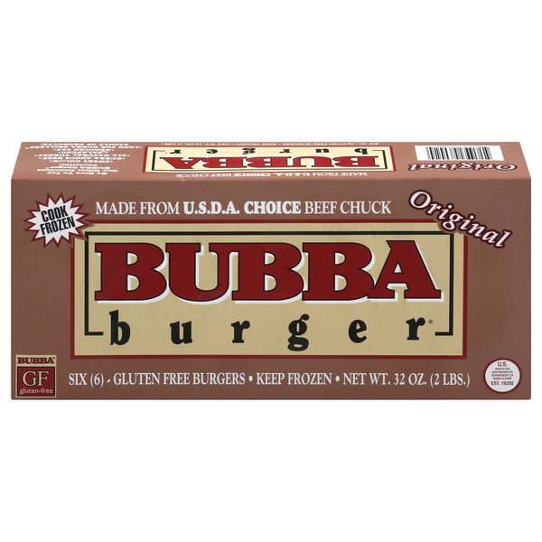 Bubba Burger Choice Beef Chuck Burgers Original 1/3 lb ea - 6 ct Frozen