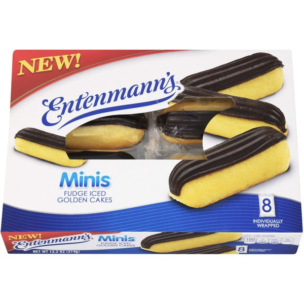 Entenmann's Minis Golden Cakes Fudge Iced - 8 ct