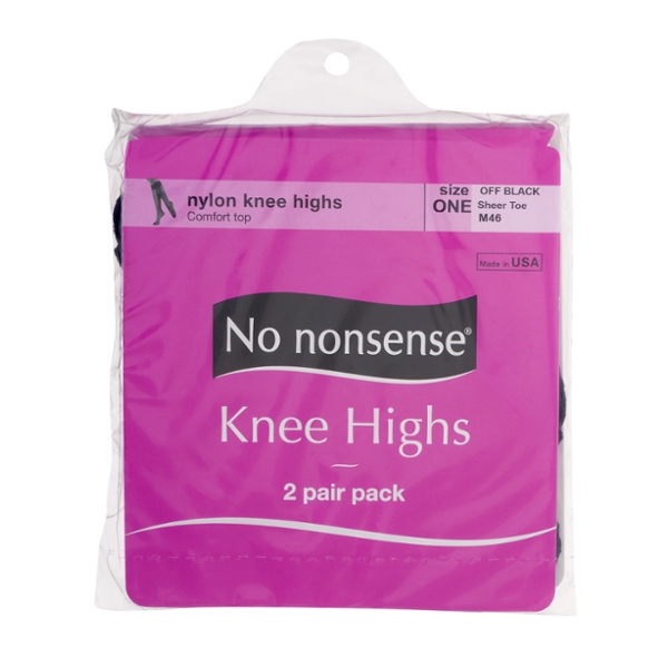 No Nonsense Pantyhose Knee Highs Off Black Size 1