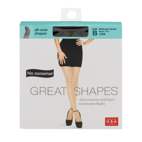 No Nonsense Great Shapes Pantyhose Beige Midnight Black Size B