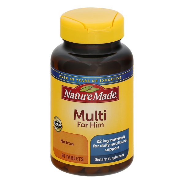 Nature Made Multi for Him No Iron Dietary Supplement Tablets