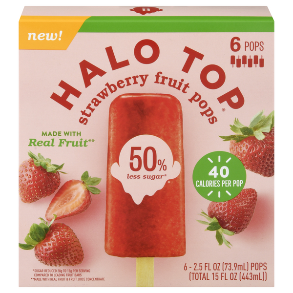 Halo Top Fruit Pops Strawberry 50% Less Sugar - 6 ct