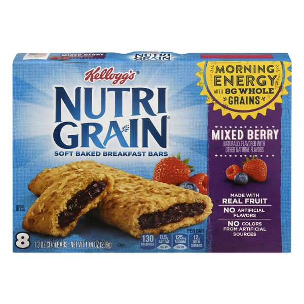 Kellogg's Nutri-Grain Breakfast Bars Soft Baked Mixed Berry - 8 ct