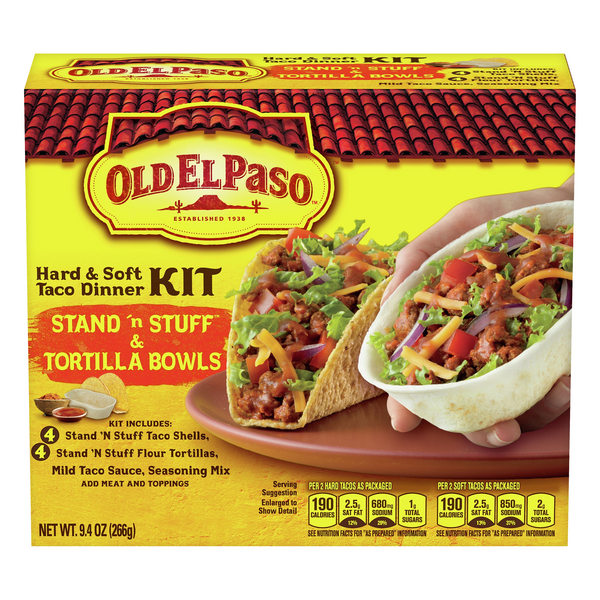 Old El Paso Stand 'N Stuff Hard & Tortilla Bowls Taco Dinner Kit - 8 ct