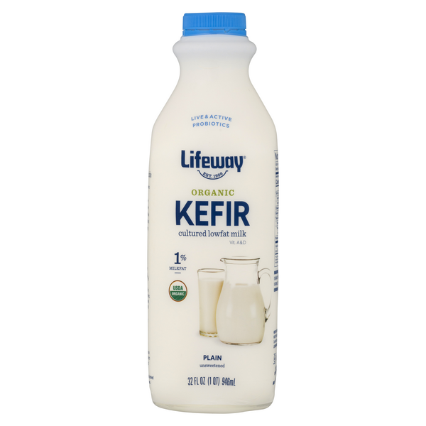 Lifeway Kefir Cultured Milk Plain 1% Low Fat Unsweetened Organic