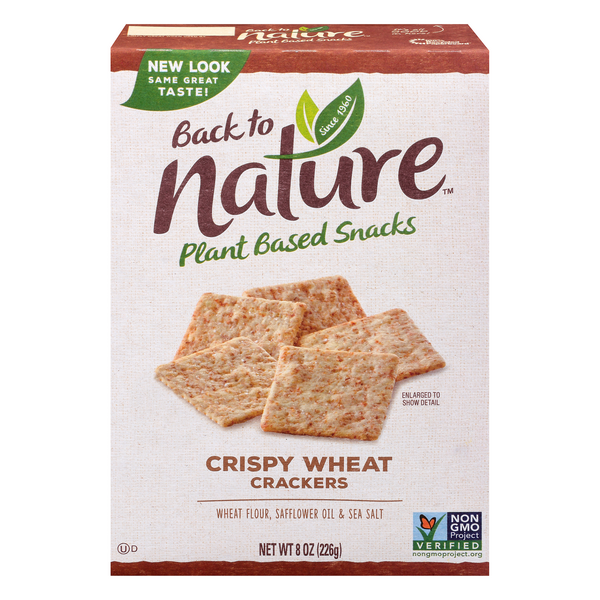 Back to Nature Plant Based Snacks Crackers Crispy Wheat