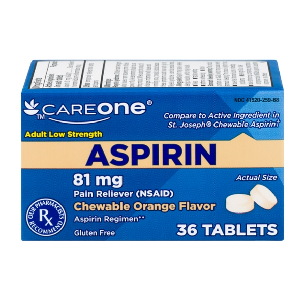 CareOne Low Dose Aspirin Regimen Pain Relief 81 mg Orange Chew Tablets
