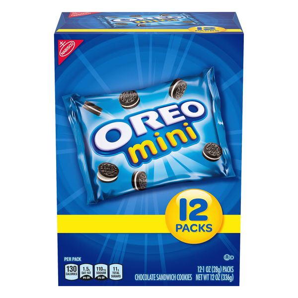 Nabisco Oreo Mini Sandwich Cookies Chocolate Snack Packs - 12 pk