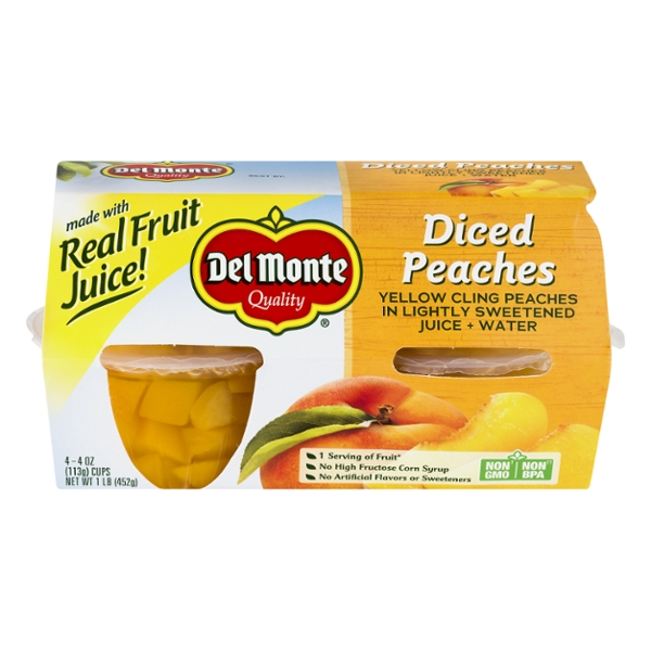 Del Monte Fruit Cups Peaches Diced in Lightly Sweetened Juice + Water 4 ct