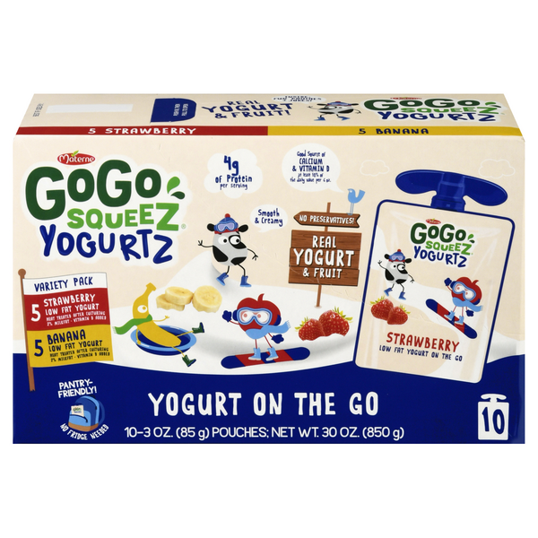 GoGo squeeZ YogurtZ on the Go Variety Strawberry Banana - 10 ct